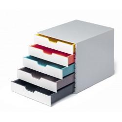 VARICOLOR MIX 5, pojemnik z pięcioma kolorowymi szufladkami. Wymiary: 280x292x356 mm (WxSxG)
