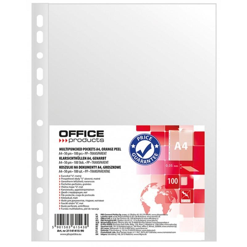 Koszulki groszkowe Office Products, A4, 50mikr., 100szt.