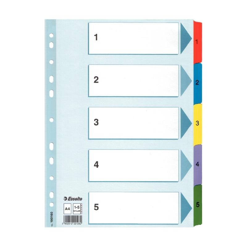 Przekładki kartonowe Mylar A4 Esselte 1-5