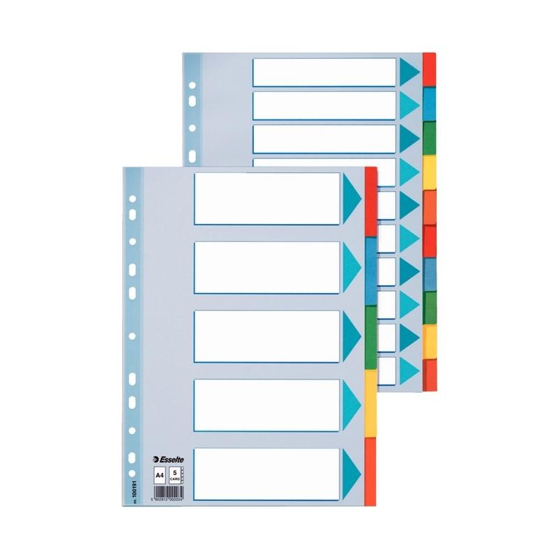 Przekładki kartonowe z kartą opisową A4 Esselte 5 kart.