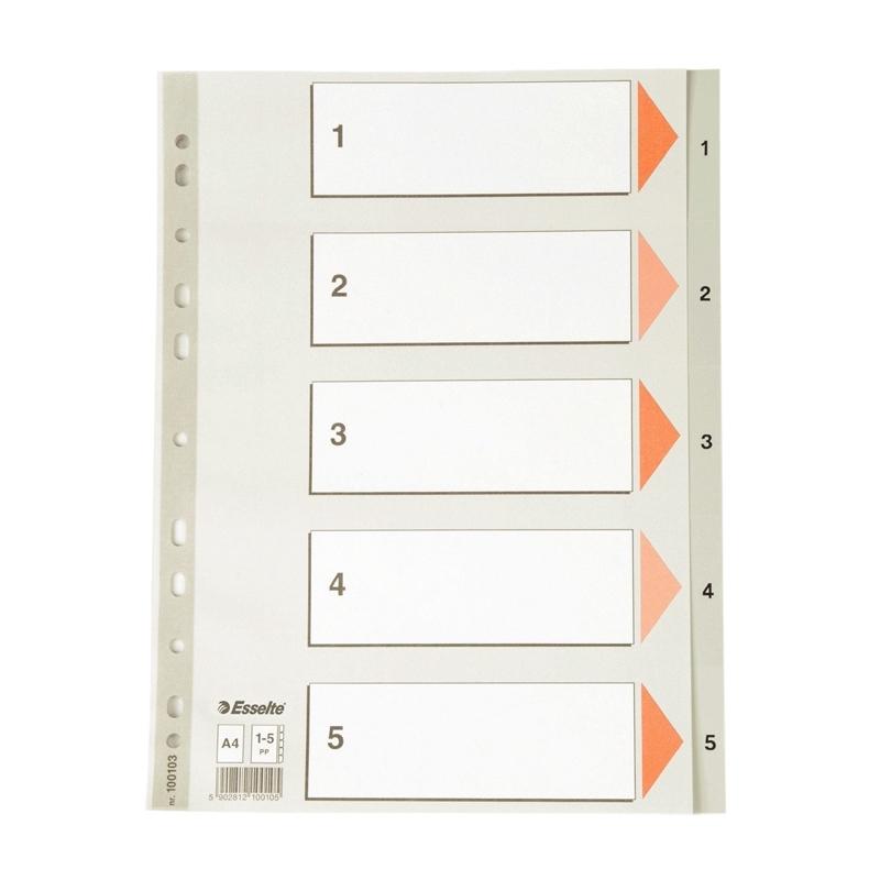 Przekładki plastikowe szare A4 Esselte 1-5
