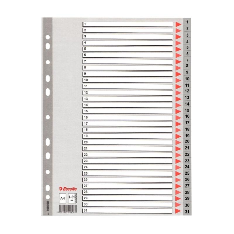 Przekładki plastikowe szare A4 Esselte 1-31