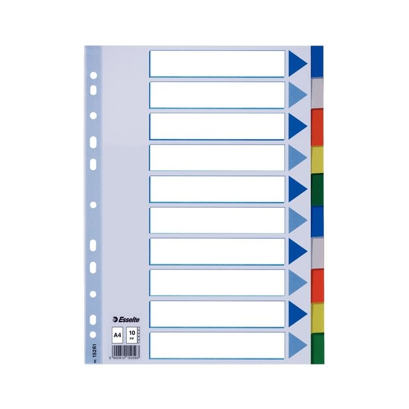 PrzekナBdki plastikowe PP Esselte A4, 10 kart.