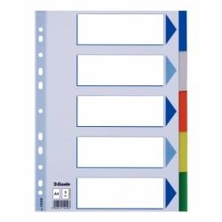 Przekładki plastikowe PP Esselte A4, 5 kart.