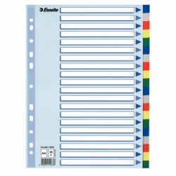 Przekładki plastikowe PP Esselte A4, 20 kart.