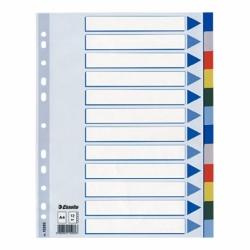 Przekładki plastikowe PP Esselte A4, 12 kart.