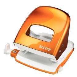 Dziurkacz Leitz 5008 metalowy, 30 kartek metaliczny pomarańczowy