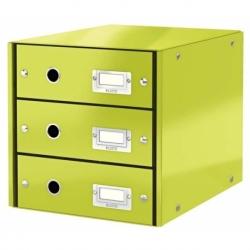 Pojemnik z 3 szufladami Leitz C&S zielony