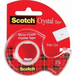 Taśma samoprzylepna Scotch Crystal Clear, przezroczysta 19mmx7,5m na podajniku