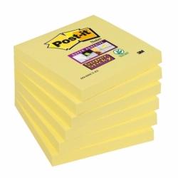 Karteczki samoprzylepne Post-it Super Sticky 76x76mm, żółte 90 kart., opak. 6 bloczków