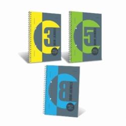 Kołonotatnik Student Book B5 / 100 kart, krata, okładka lakierowana, 5 części kolorowych