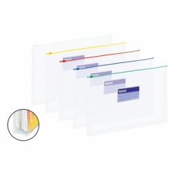 Teczka foliowa zamykana na suwak Grand A4, mix kolorów