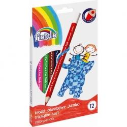 Kredki ołówkowe Super Soft Fiorello 12 kolorów Jumbo