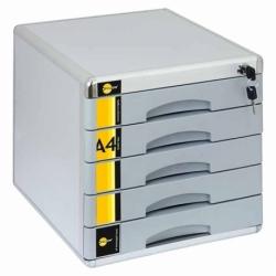 Pojemnik/szafka na dokumenty na klucz Yellow One, 5 szuflad, metal