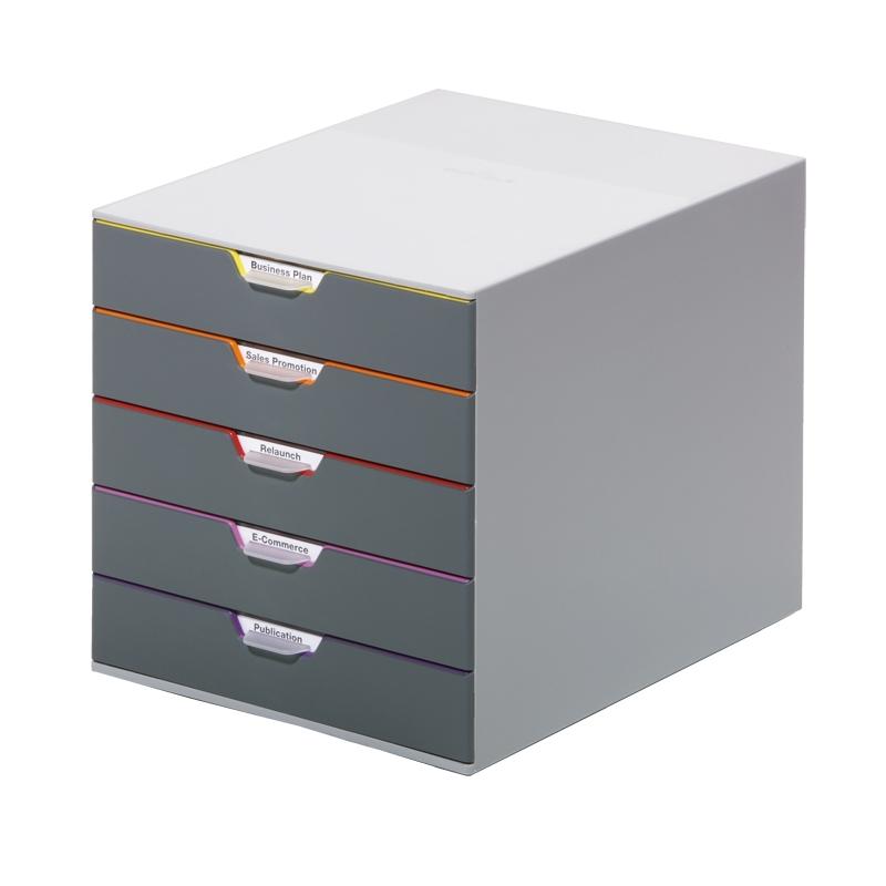 VARICOLOR 5, pojemnik z piト冂ioma kolorowymi szufladkami. Wymiary: 280x292x356 mm (WxSxG)