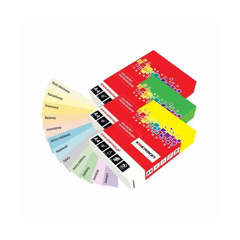 Papiery kolorowe Emerson pastelowe A4, 160 g kość słoniowa
