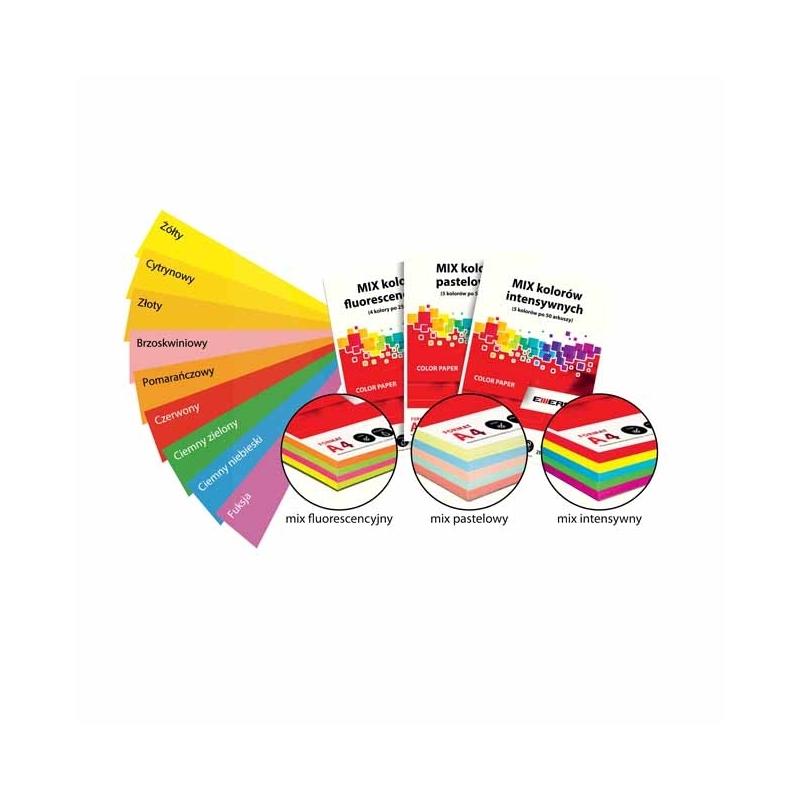 Papier ksero Emerson A4 80g mix fluorescencyjny 4 kolory x 25 arkuszy