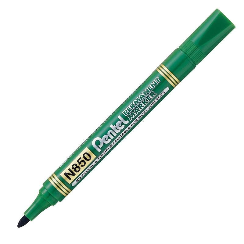 Marker permanentny Pentel N850 zielony, okrト�gナて� koナ�cテウwka