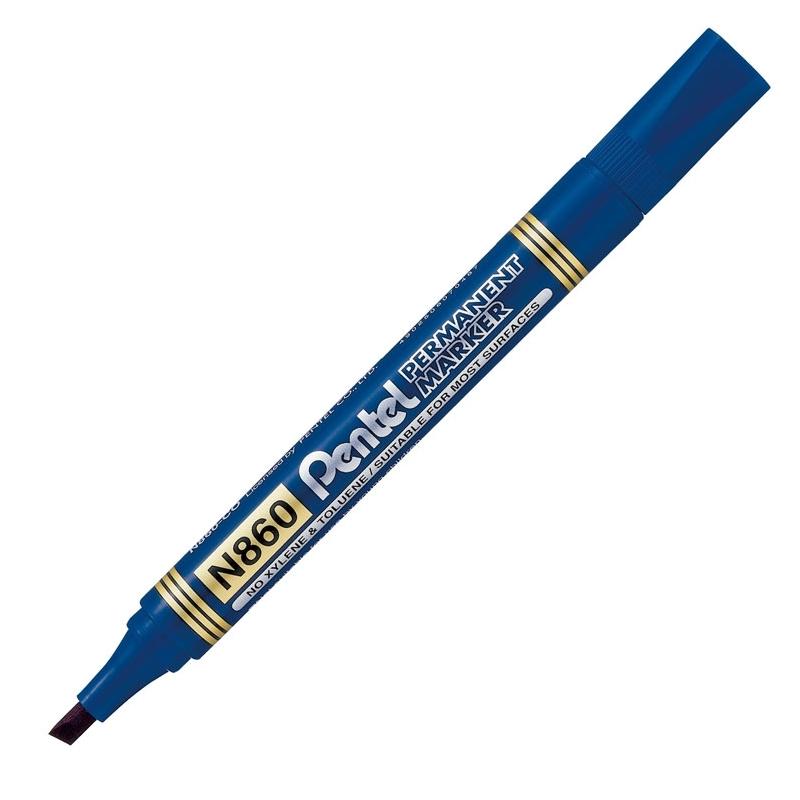 Marker permanentny Pentel N860 niebieski, ścięta końcówka