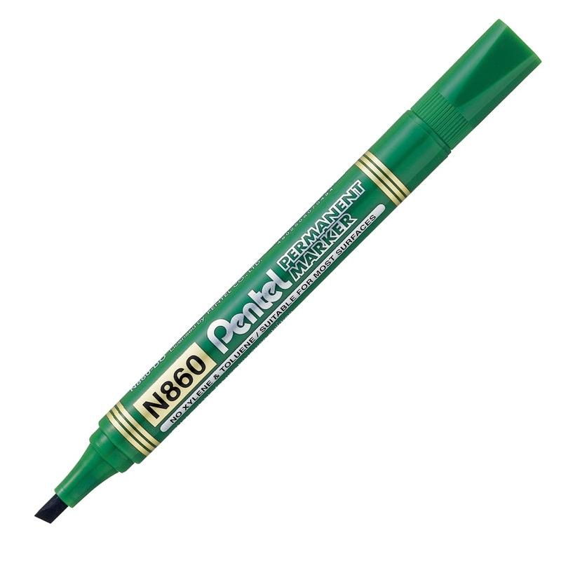 Marker permanentny Pentel N860 zielony, ścięta końcóka