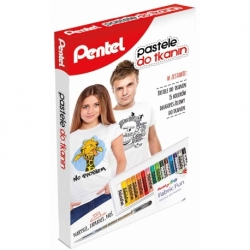 Zestaw kreatywny pastele Pentel + długopis do tkanin 15 kolorów
