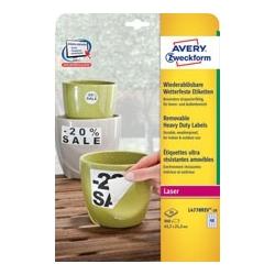 Etykiety Heavy Duty usuwalne do użytku zewnętrznego Avery Zweckform 45,7 x 21,2 mm, poliestrowe / 20 ark.