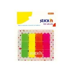 Zakładki indeksujące Stick'N w podajniku do przyklejania 45x12mm, 4 kol neon, 80