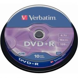 Płyta DVD R Verbatim AZO matt silver cake box 10 szt.