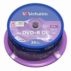 Płyta DVD+R Verbatim DL AZO matt silver cake box 25 szt.