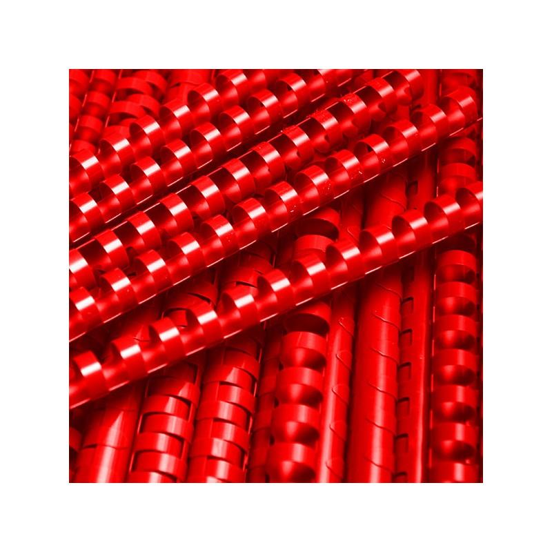 Grzbiety do bindowania plastikowe 6mm, 100 szt. czerwony