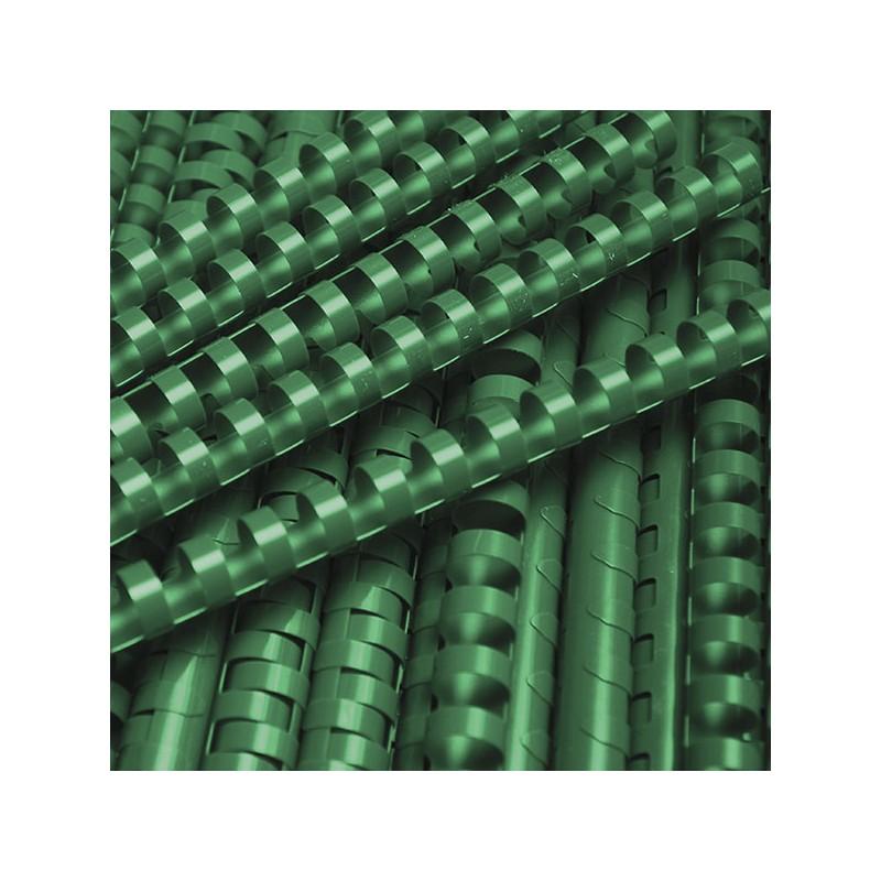 Grzbiety do bindowania plastikowe 16mm, 100 szt. zielony