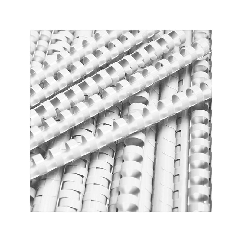 Grzbiety do bindowania plastikowe 16mm, 100 szt. biaナZ