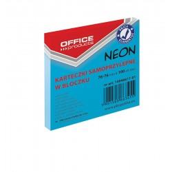 Karteczki samoprzylepne Office Products neonowe Niebieskie, 76x76mm, 100 k