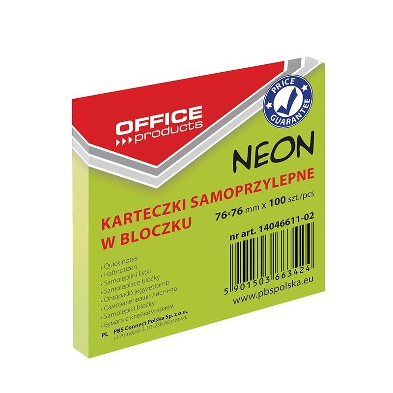 Karteczki samoprzylepne Office Products neonowe zielone, 76x76mm, 100 k