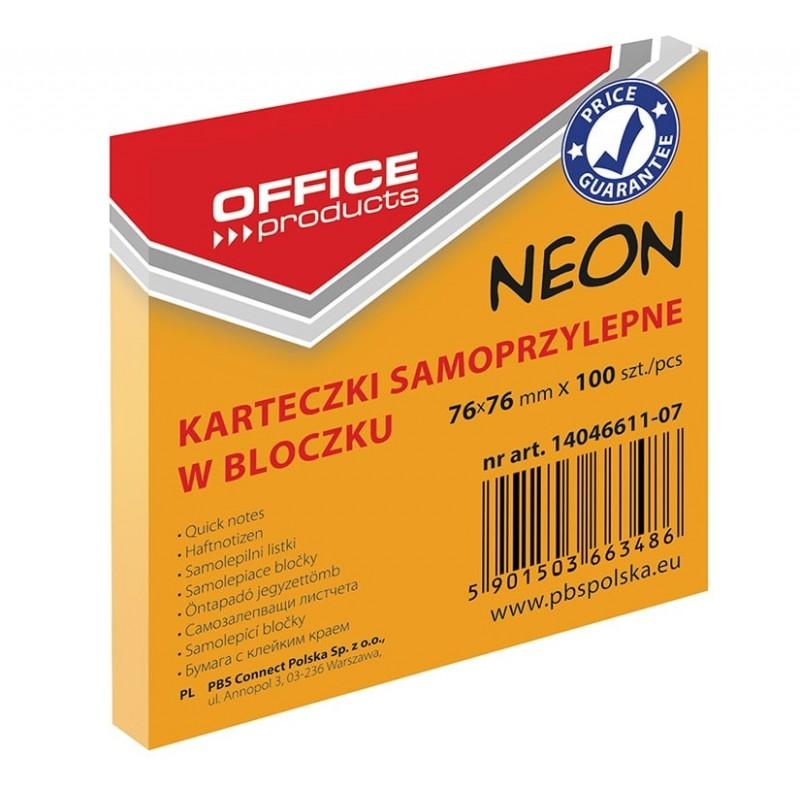 Karteczki samoprzylepne Office Products neonowe pomaraナ�czowe, 76x76mm, 100 k