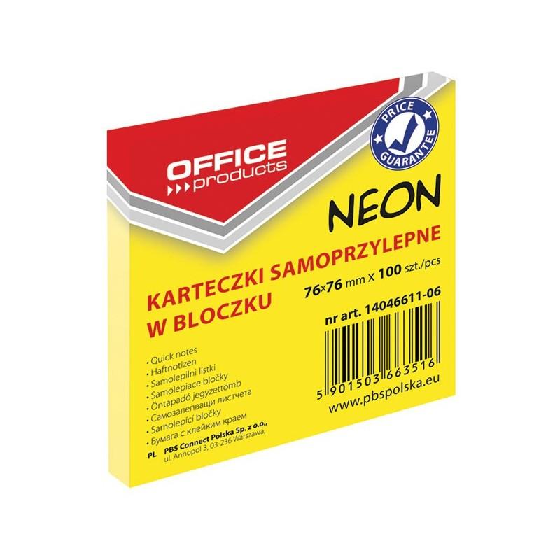 Karteczki samoprzylepne Office Products neonowe żółte, 76x76mm, 100 k