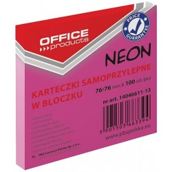 Karteczki samoprzylepne Office Products neonowe różowe, 76x76mm, 100 k