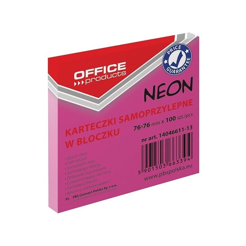 Karteczki samoprzylepne Office Products neonowe rテウナシowe, 76x76mm, 100 k