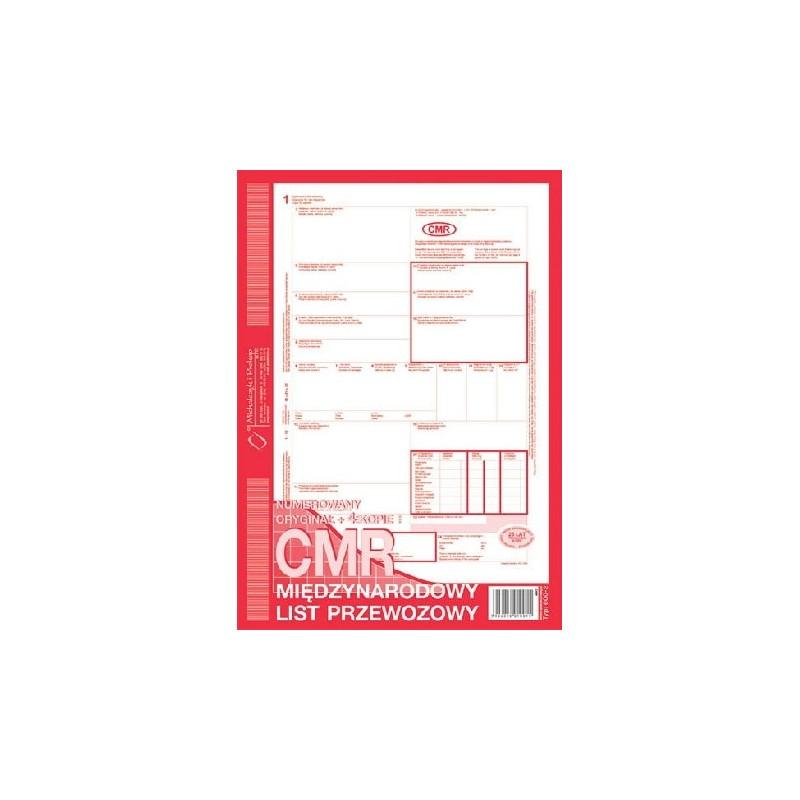 CMR Miト囘zynarodowy list przewozowy A4 O+4K