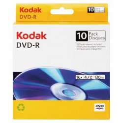 PŁYTA DVD-R KODAK 4,7GB 16X 10 SZT. BOX + KOPERTY