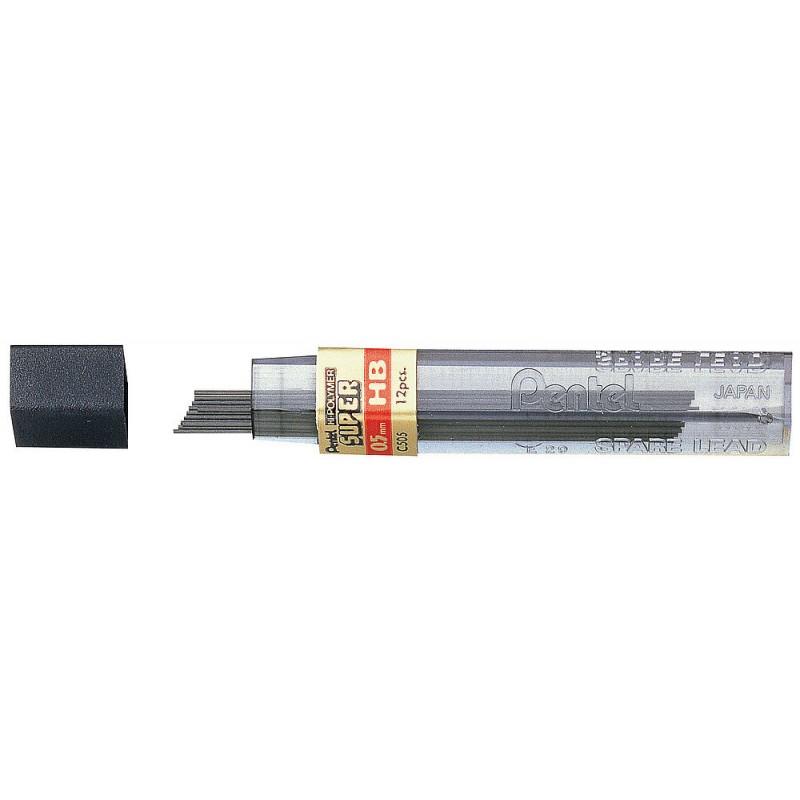 Grafity do ołówków Pentel Hi-Polymer, 12 szt. 0,5 mm / H