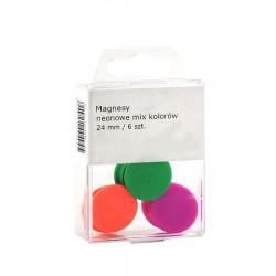 Magnesy Colorplus 24mm 6 szt mix kolorów neonowych