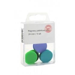 Magnesy Colorplus 24mm 6 szt mix kolorów pastelowych