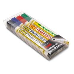 Marker do tablic suchościeralnych Pentel MW85 kpl. 4 kolory w etui