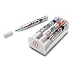 Marker do tablic suchościeralnych Pentel MWL5S Maxiflo komplet 4 szt. z gąbką