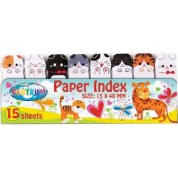 Zakładki indeksujące Centrum papierowe 48x15mm koty 8 wzorów po 15szt.