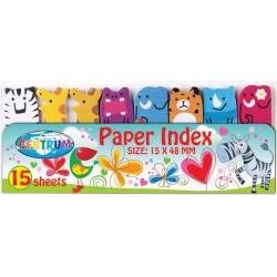 Zakładki indeksujące Centrum papierowe 48x15mm zwierzęta 8 wzorów po 15szt.