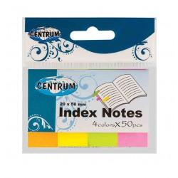 Zakładki indeksujące Centrum papierowe 20x50mm neonowe 4 kolory po 50 karteczek