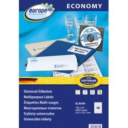 Etykiety uniwersalne Economy Europe100 by Avery Zweckform A4, 100 ark./op., 52,5 x 29,7 mm, białe