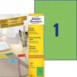 Etykiety trwaナF kolorowe Avery Zweckform A4, 100 ark./op., 210 x 297 mm, zielone